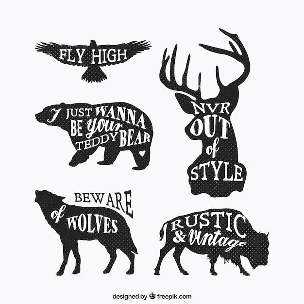 Siluetas de animales grunge con letras vector gratuito