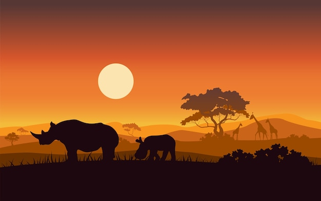Siluetas de animales salvajes de safari de puesta de sol de rinoceronte africano Vector Premium