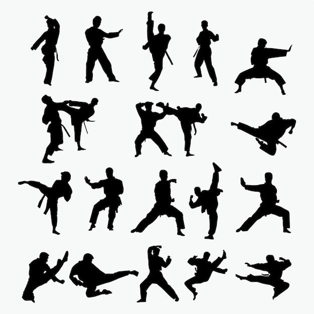 Siluetas de arte marcial Vector Premium
