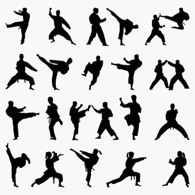 Siluetas de artes marciales Vector Premium