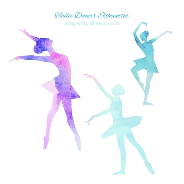 Siluetas de bailarinas de ballet vector gratuito
