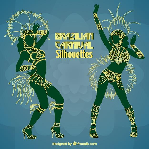 Siluetas de bailarinas brasileñas vector gratuito