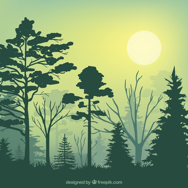 Siluetas de bosque verde vector gratuito