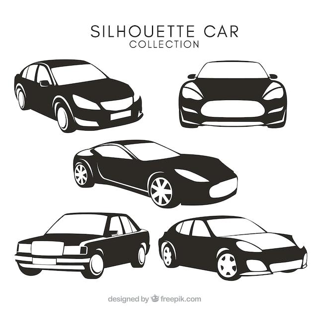 Siluetas de coches con diferentes diseños vector gratuito