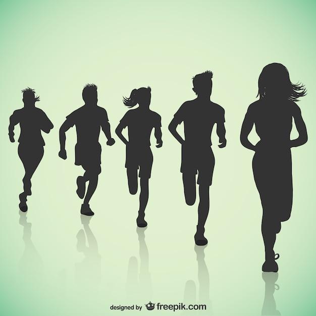 Siluetas de corredores Vector Premium