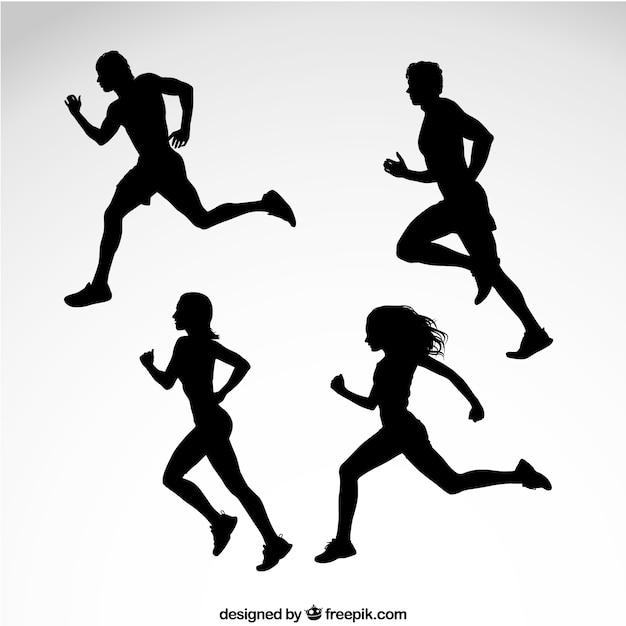 Siluetas de los corredores vector gratuito
