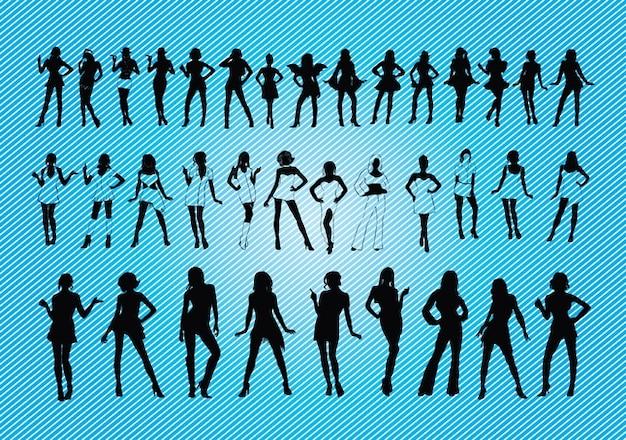siluetas de chicas sexy Vector Gratis