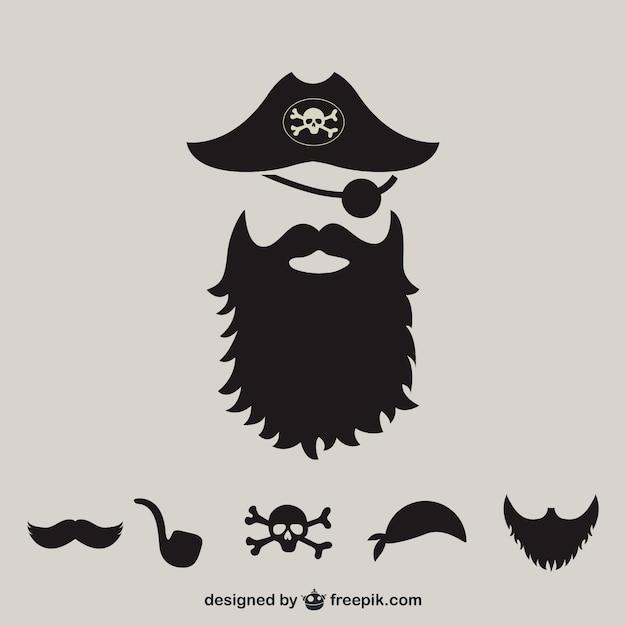 Siluetas de elementos de piratas Vector Gratis