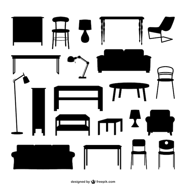 Bedroom Interior Design Set Furniture Vector ~ Siluetas de muebles descargar vectores gratis