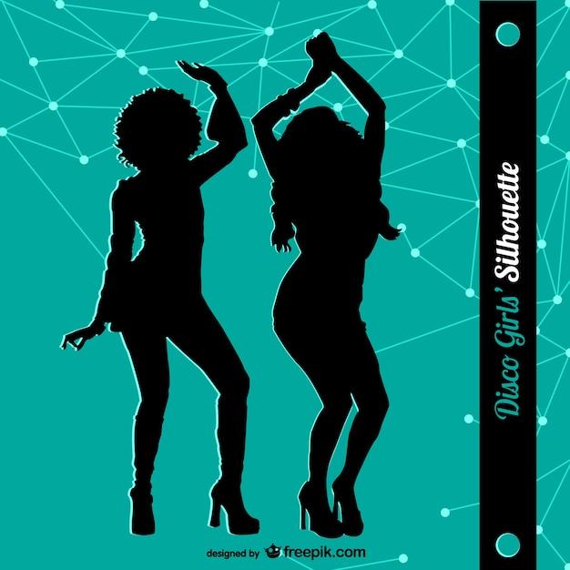 Siluetas de mujeres bailando en discoteca   Descargar Vectores gratis