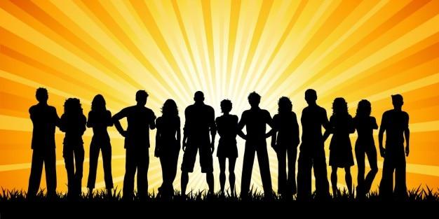 Multitud De Gente Silueta: Siluetas De Multitud De Gente Con Rayos De Sol