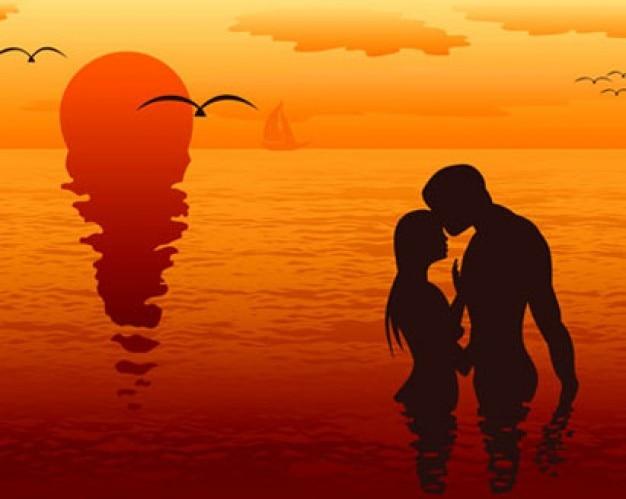 siluetas de parejas de enamorados Vector Gratis