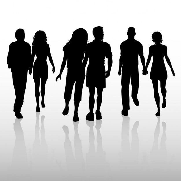 Siluetas de parejas enamoradas caminando | Descargar ...