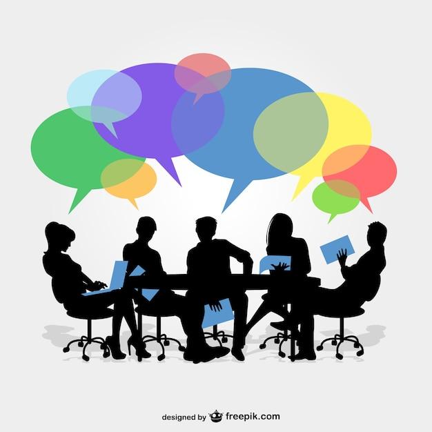 Siluetas de reunión de negocios con colores Vector Gratis