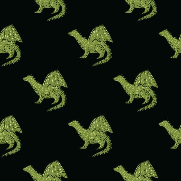 Siluetas de dragón verde sobre fondo negro de patrones sin fisuras. Vector Premium