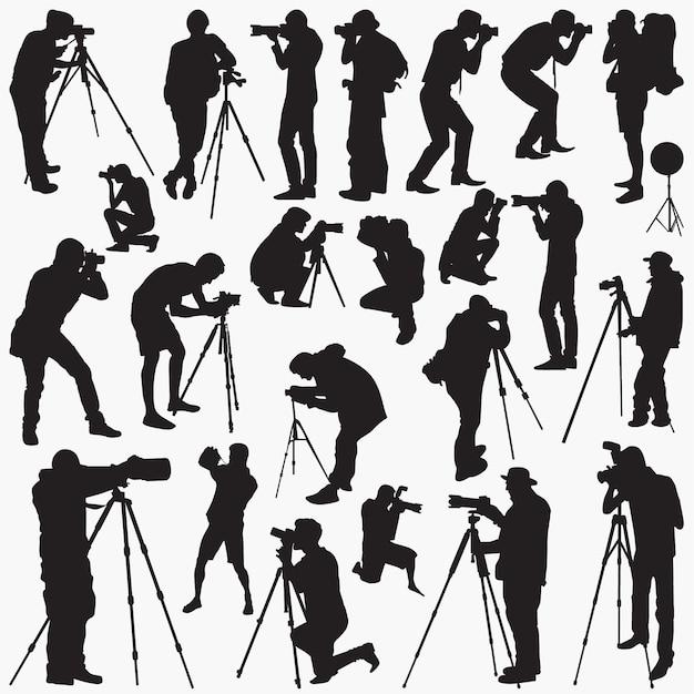 Siluetas de fotógrafo Vector Premium