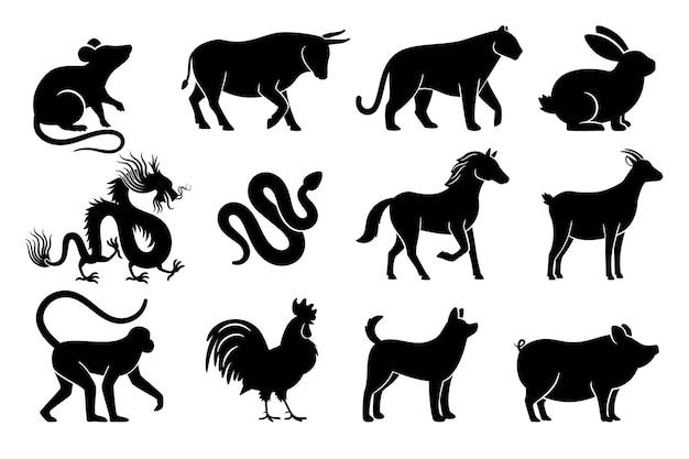 Siluetas del horóscopo chino. símbolos de animales del zodíaco chino del año, signos negros Vector Premium