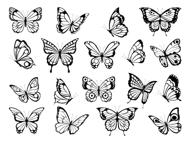 Siluetas de mariposas cuadros negros de mariposas divertidas Vector Premium