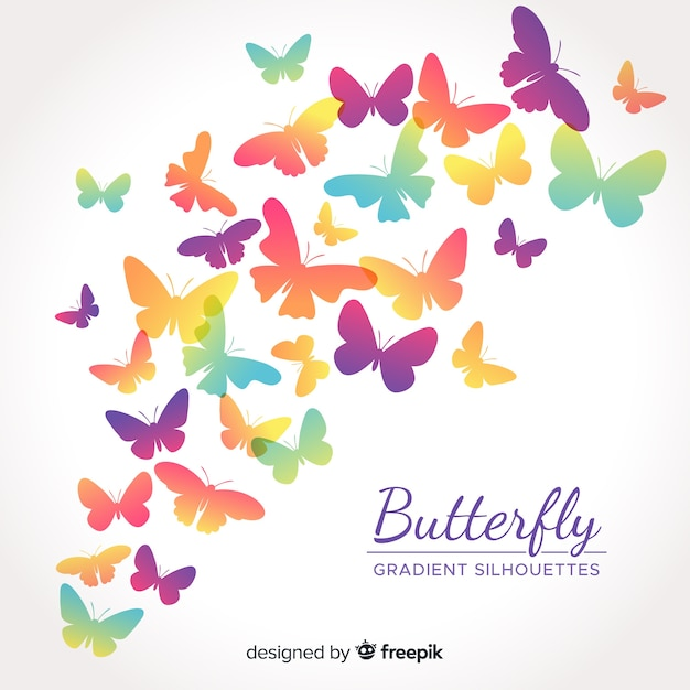Siluetas de mariposas volando en color degradado vector gratuito