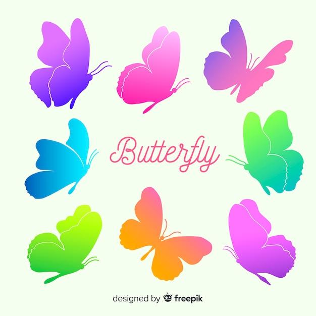 Siluetas de mariposas volando en degradado vector gratuito