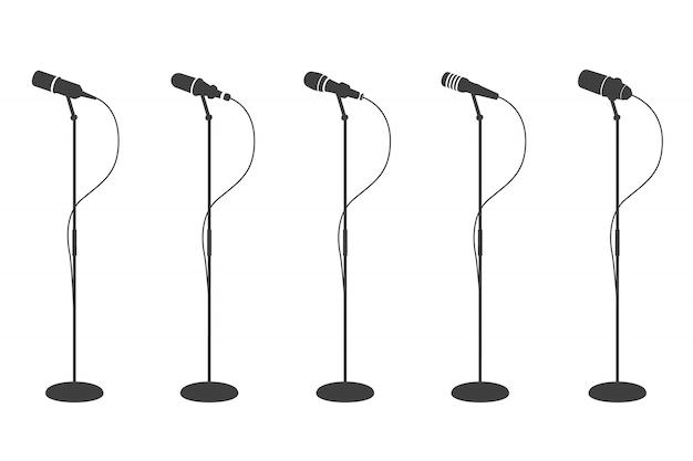 Siluetas de micrófonos micrófonos de pie equipos de audio. y colección de micrófonos de música karaoke Vector Premium