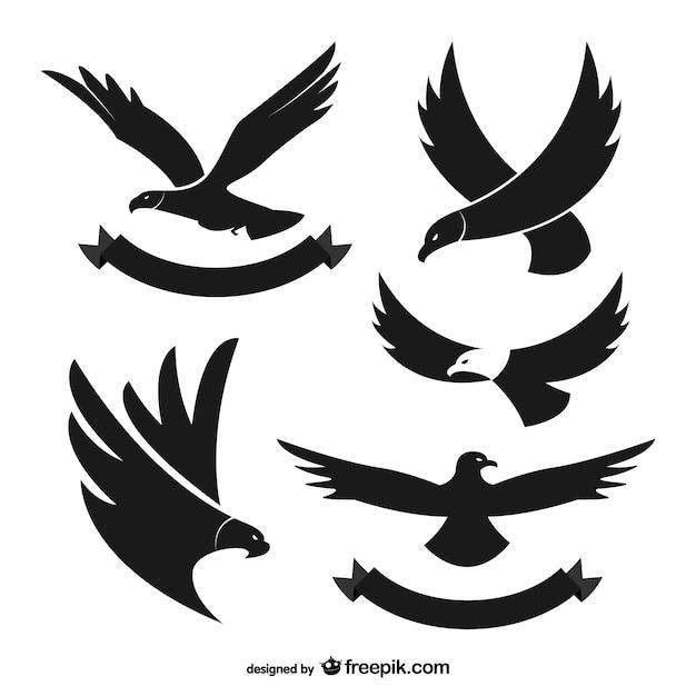Siluetas negras de águila vector gratuito