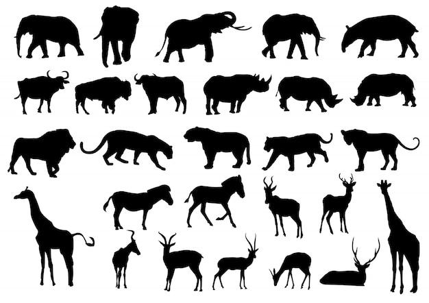 Siluetas negras de animales salvajes Vector Premium