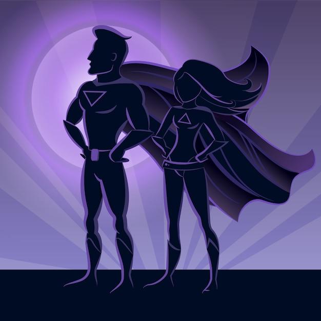 Siluetas de pareja de superhéroes vector gratuito