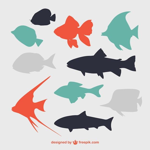 Siluetas de peces planos vector gratuito