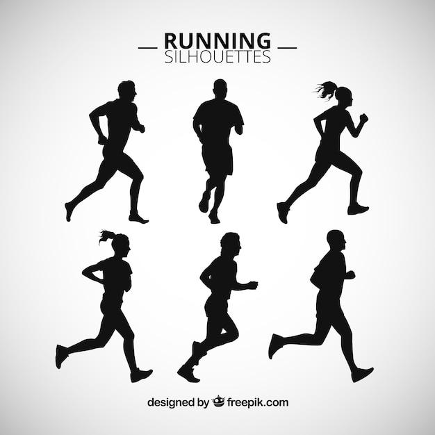 Siluetas de personas corriendo vector gratuito