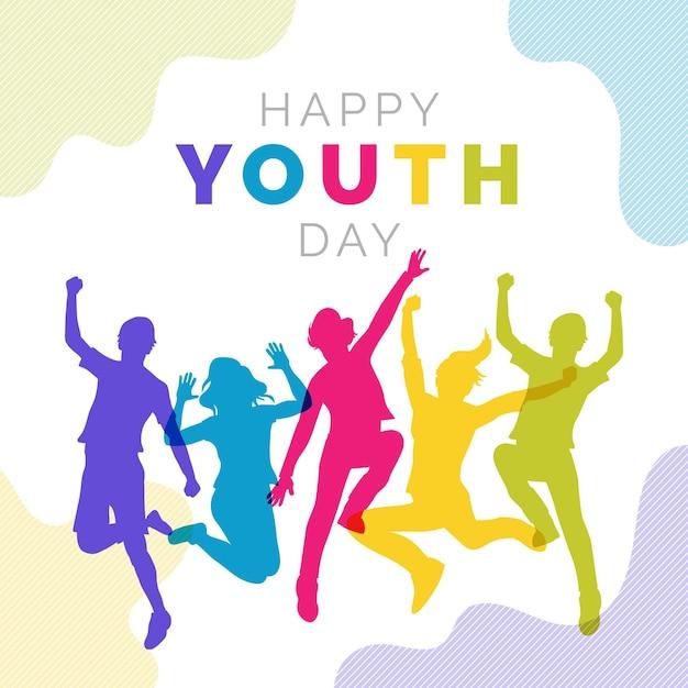 Siluetas de personas saltando en el día de la juventud vector gratuito
