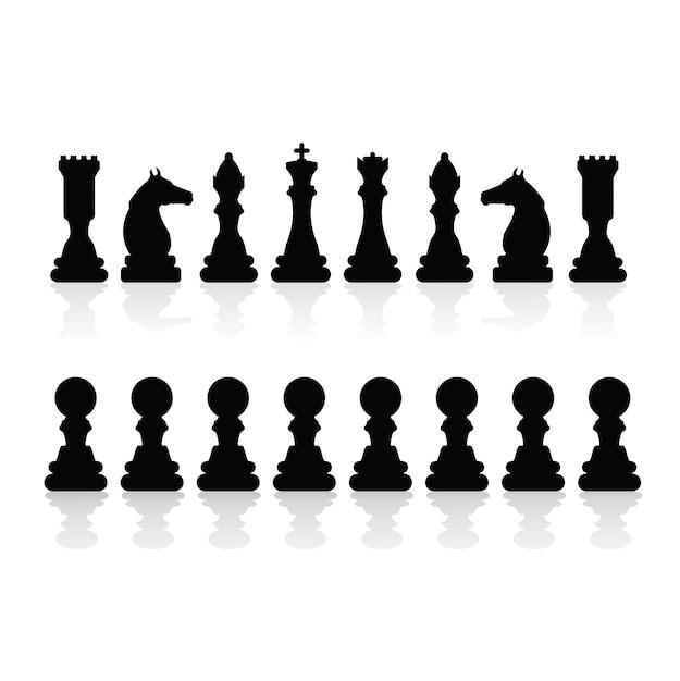 Siluetas de piezas de ajedrez vector gratuito
