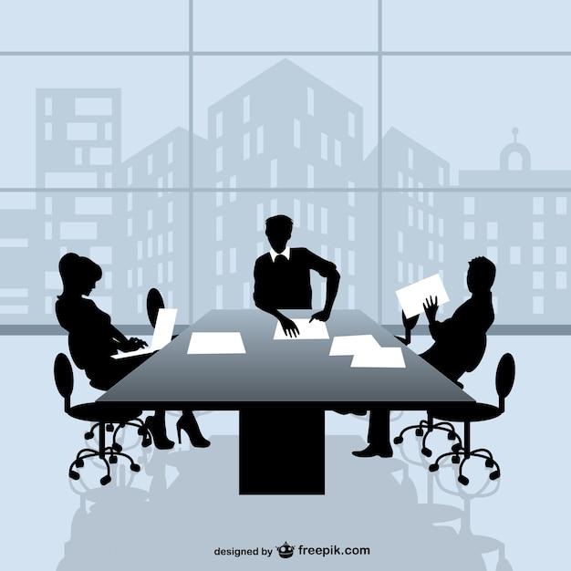 Siluetas de reunión de negocios y ventana vector gratuito