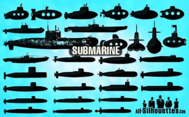 Siluetas submarino Vector Gratis