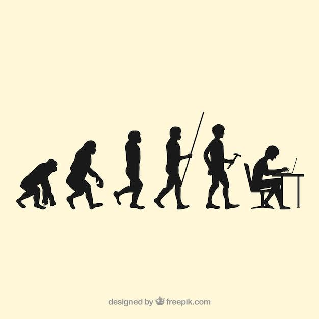 Siluetas trabajadores humanos evolución vector gratuito