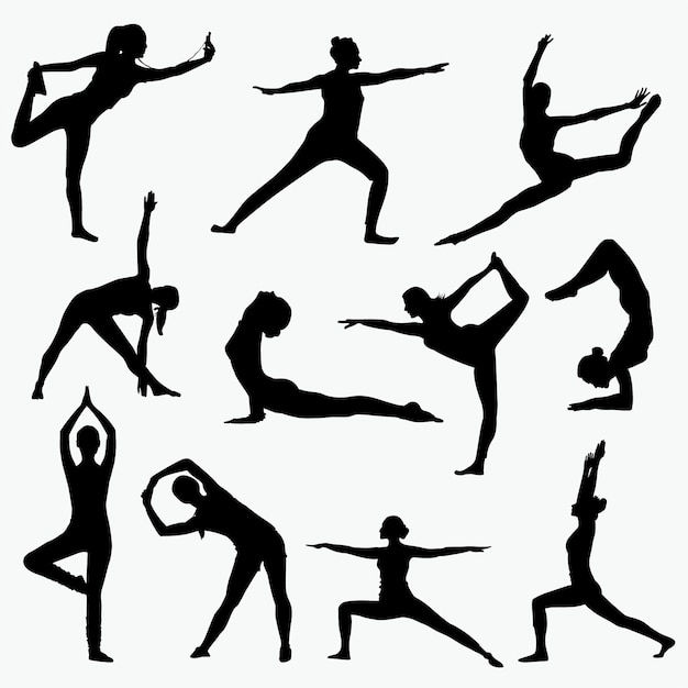 Siluetas de yoga mujer Vector Premium