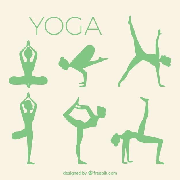 Siluetas de yoga paquete vector gratuito