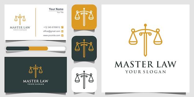 Símbolo abogado abogado abogado plantilla estilo lineal. escudo espada ley firma legal logotipo de la empresa de seguridad y tarjeta de visita Vector Premium