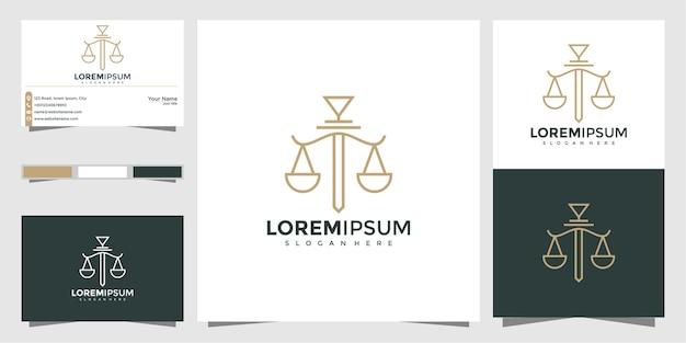 Símbolo abogado abogado defensor plantilla estilo lineal. escudo espada ley bufete de abogados seguridad empresa logotipo y tarjeta de visita Vector Premium