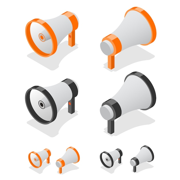 Símbolo de altavoz de megáfono. vista isométrica. Vector Premium