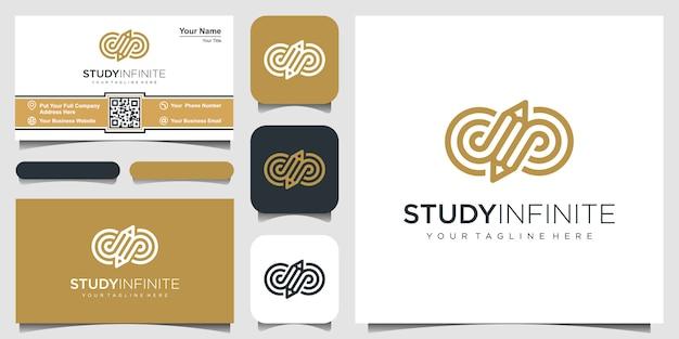 Símbolo creativo infinito con inspiración de logotipo de concepto de lápiz. y diseño de tarjetas de visita Vector Premium