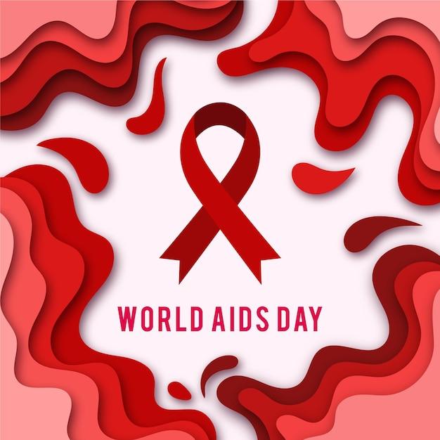 Símbolo del día mundial del sida en estilo papel vector gratuito