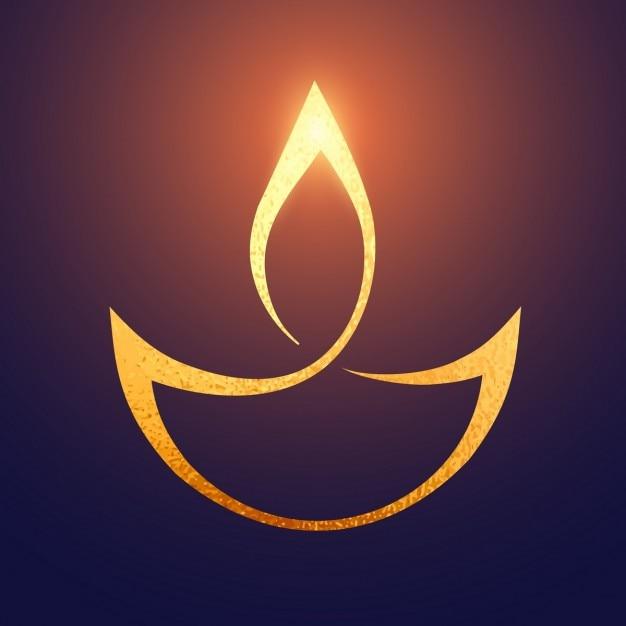 Símbolo dorado para diwali vector gratuito
