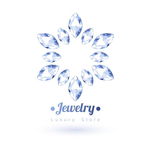 Símbolo de joyería de piedras preciosas blancas. forma de estrella o flor. diamantes sobre fondo blanco. Vector Premium