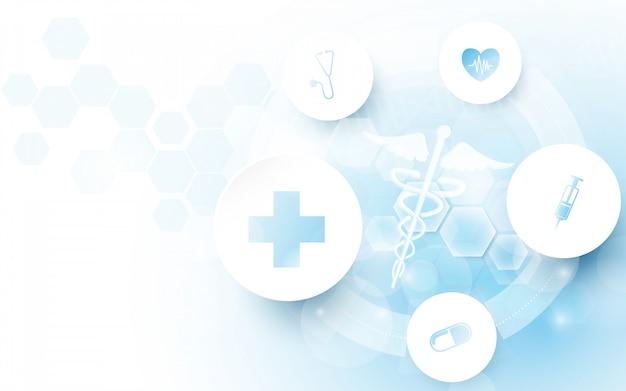 Símbolo médico del caduceo y geométrico abstracto con fondo de concepto de medicina y ciencia Vector Premium