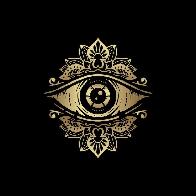 Símbolo de ojo con adorno de mandala floral dorado. visión de la providencia. lujoso, alquimia, religión, espiritualidad, ocultismo, arte del tatuaje, lector de tarot Vector Premium
