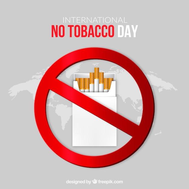 Símbolo prohibido con cajetilla de tabaco vector gratuito
