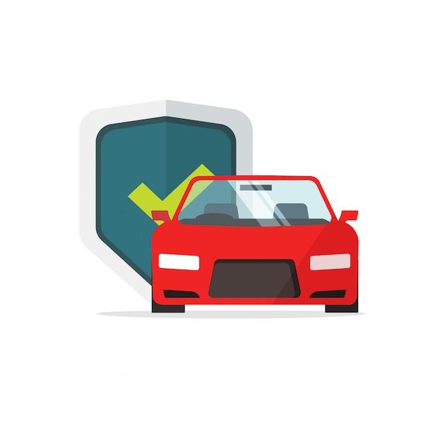 Símbolo de seguro de automóvil o automóvil protegido con dibujos animados planos de ilustración de escudo Vector Premium