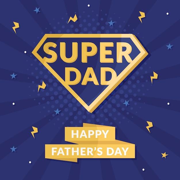 Símbolo del superhéroe del concepto del día del padre vector gratuito