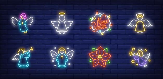 Símbolos de ángeles en estilo neón vector gratuito